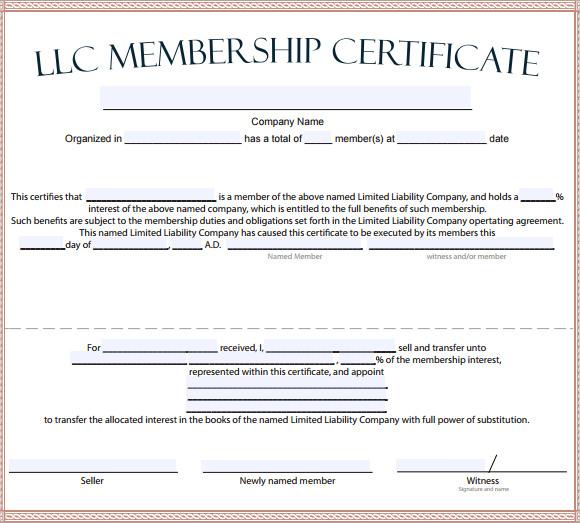Llc Membership Certificate Template 1 Templates Example
