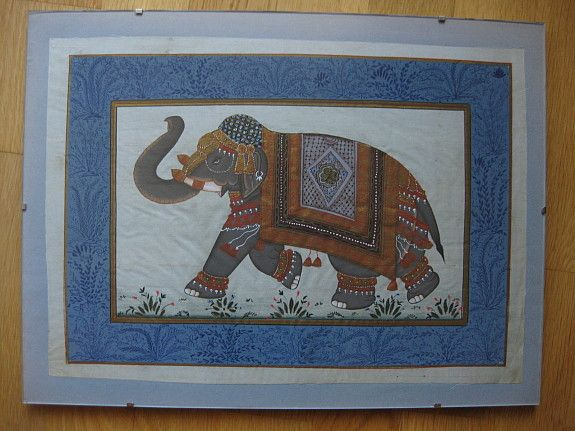 Vintage Indian Silk Painting Elefant, very detailed & beautiful work of art