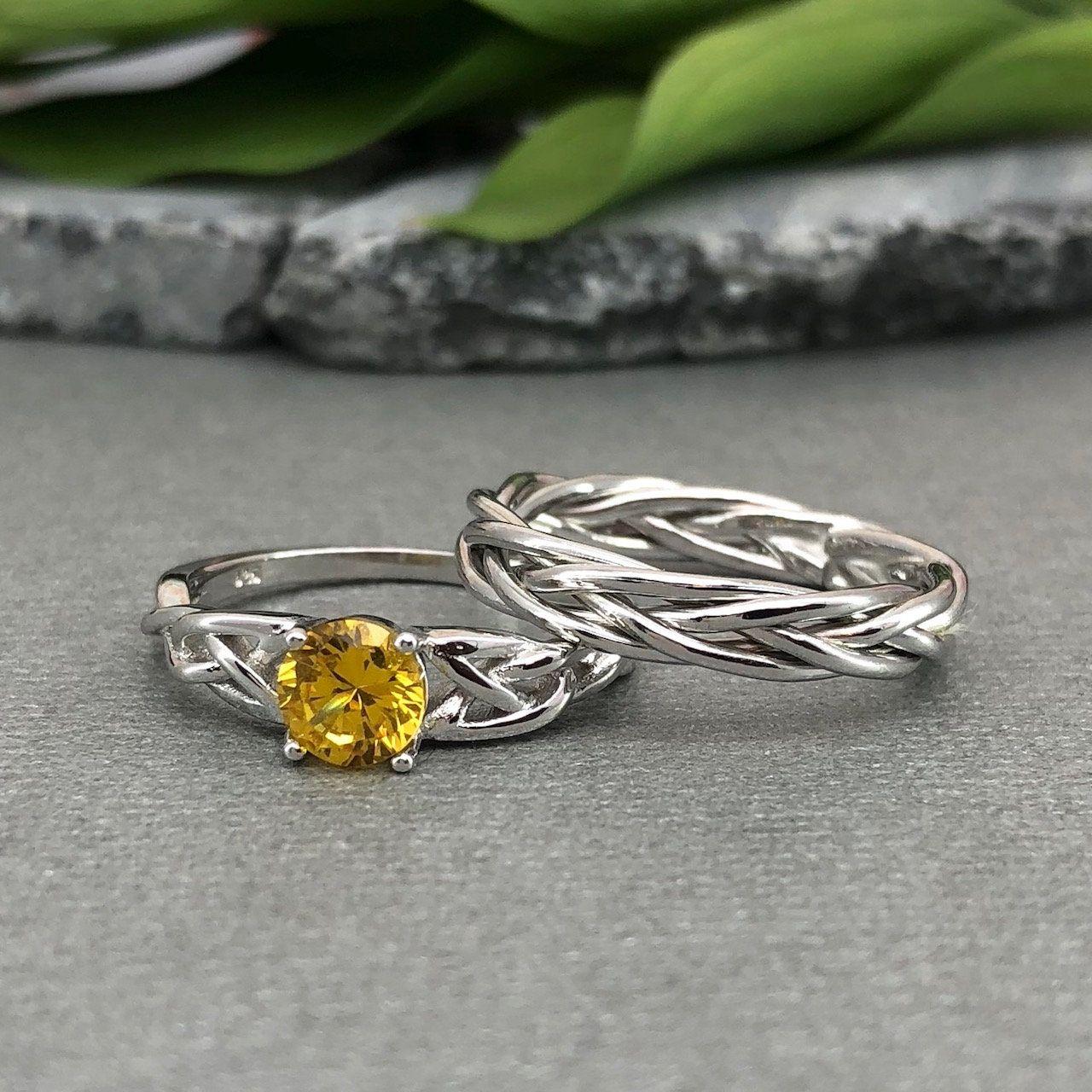 Round Yellow Citrine Celtic Wedding Ring Set Trinity