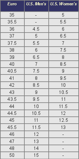 Cross country ski boot sizing chart cross country skiing