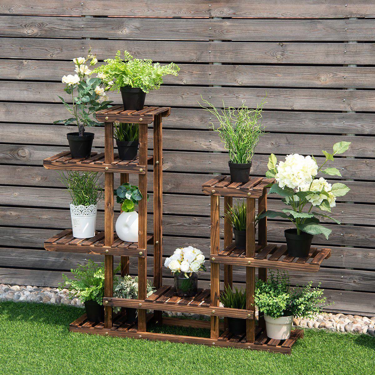 Costway 6tier 13 pots wooden plant flower display stand