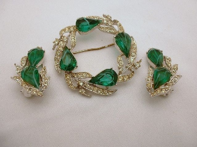 Green floral glass bead and crystal choker and earrings jewelry set JS003