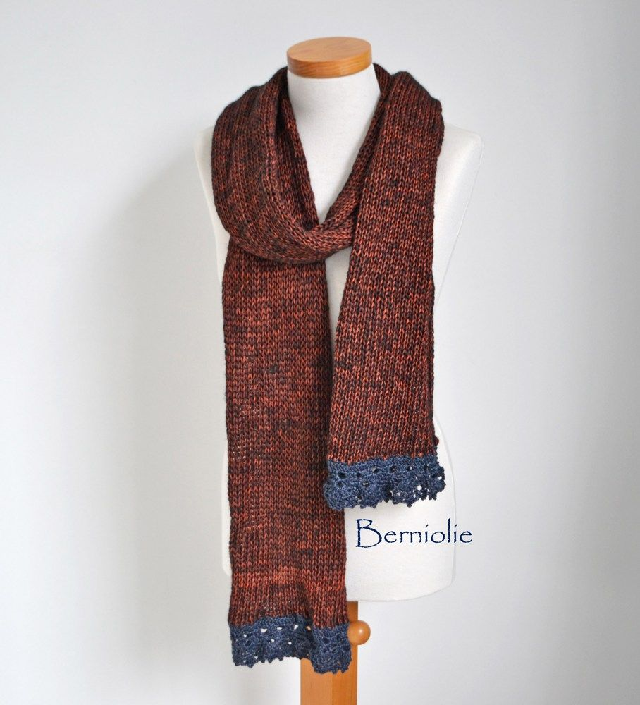 Knitted scarf, copper red and navy crochet trims, M232
