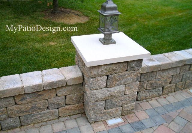 Attractive This Column Is Home To A Low Voltage Post Light That Will Illuminate This  Area Perfectly At Night. Download Patio Plans With Seating Walls At  MyPatioDesign. ...