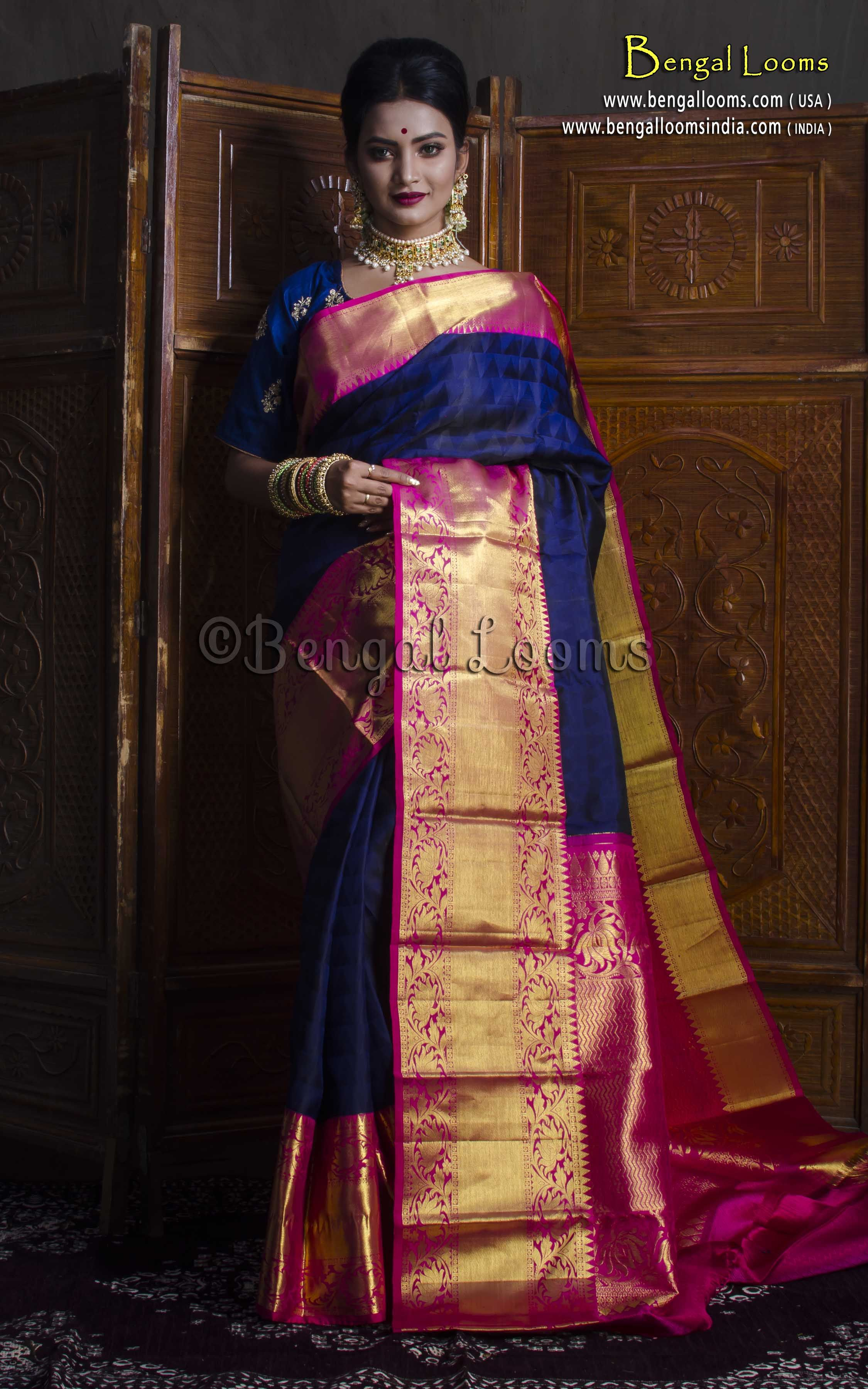 2500d6270d Premium Quality Bridal Kanjivaram Silk Saree in Dark Blue and Rani ...
