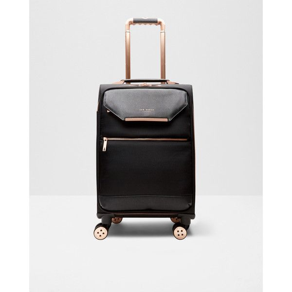 Ted Baker Metallic trim small suitcase (€270) ❤ liked on Polyvore featuring bags, luggage and black