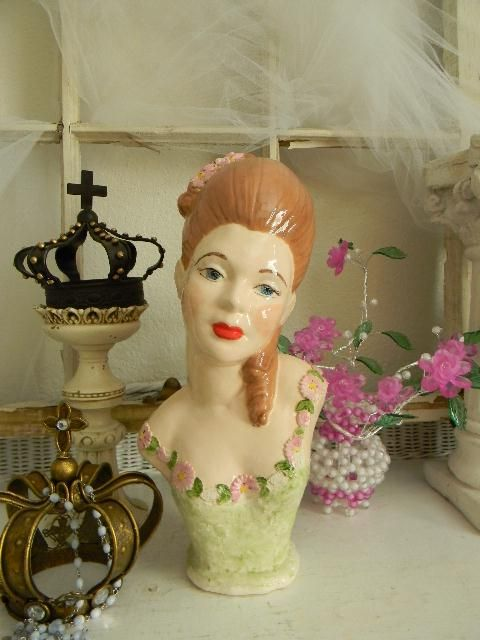 French Maiden porcelain hand-painted bust