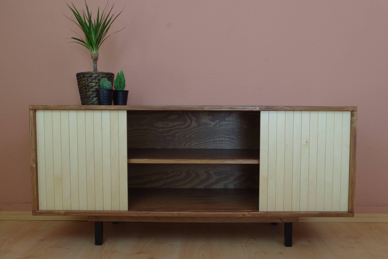 latest retro mid century tv stand tisch schrank lowboard hifi sideboard kommode von auf etsy with tv schrank retro