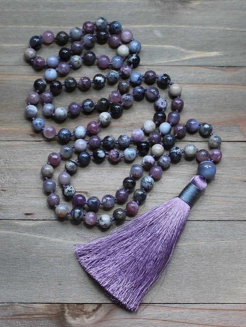 108 Mala Beads Mala Necklace Gemstone Necklace Tassel Necklace Meditation Beads BohoStyle Necklace Yoga Meditation Gift
