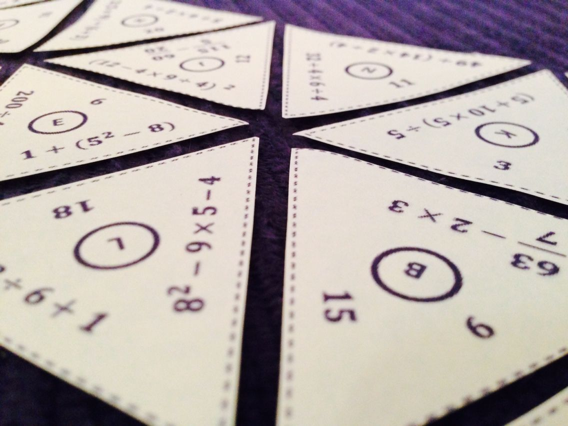 Free Order Of Operations Matching Puzzle
