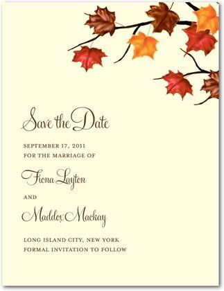 save the date postcards artistic maple front autumn orange
