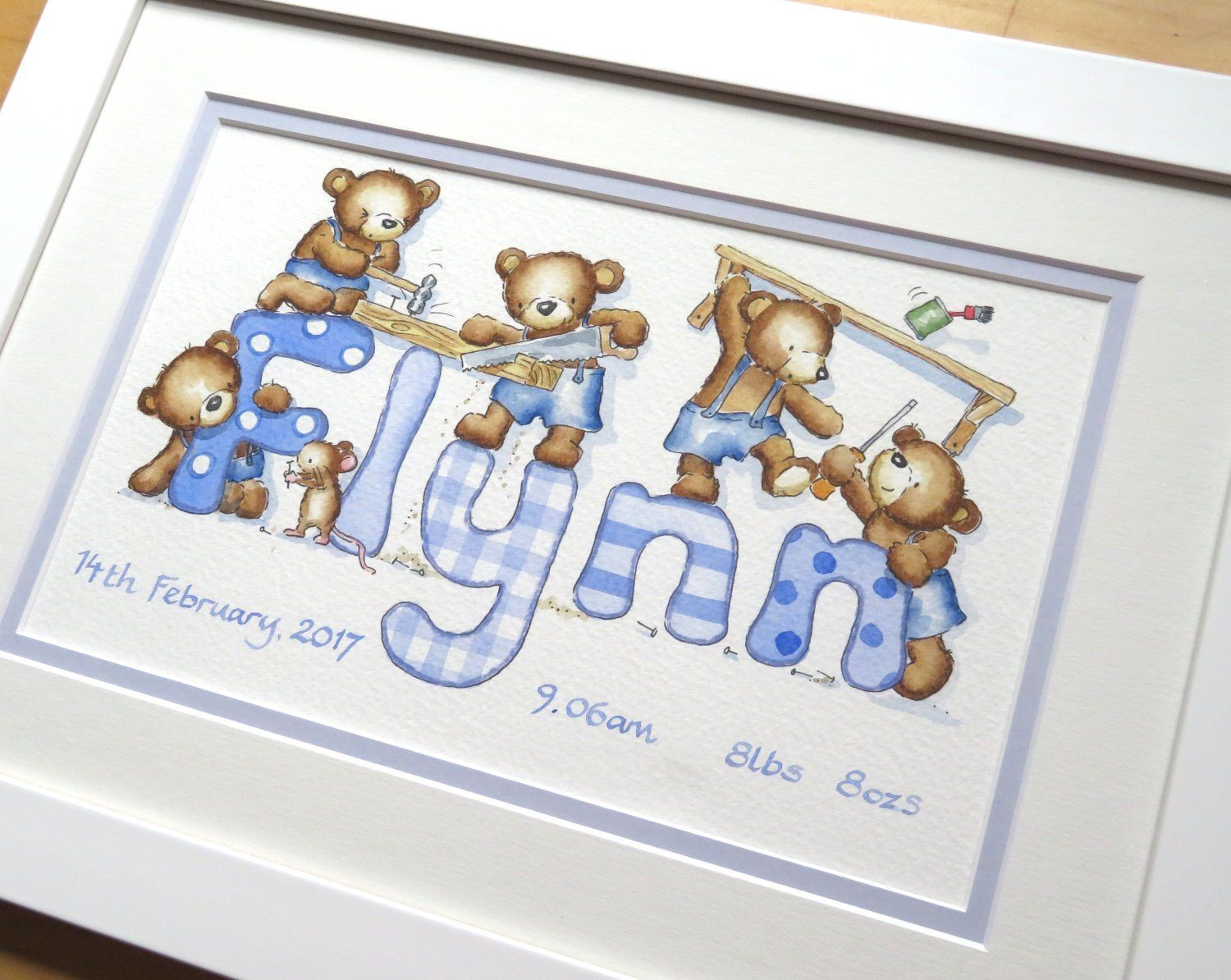Teddy bears name painting - DIY in shades of blue | Name