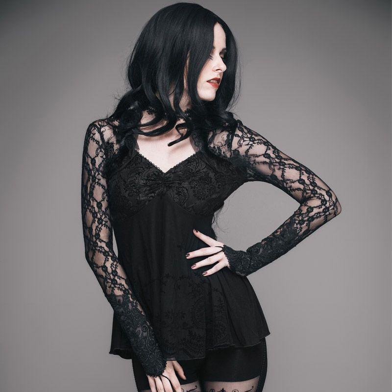 Devil Fashion Gothic Black Sexy Club Women Lace Tops Slim Fit Heavy Metal  Death Long Sleeves