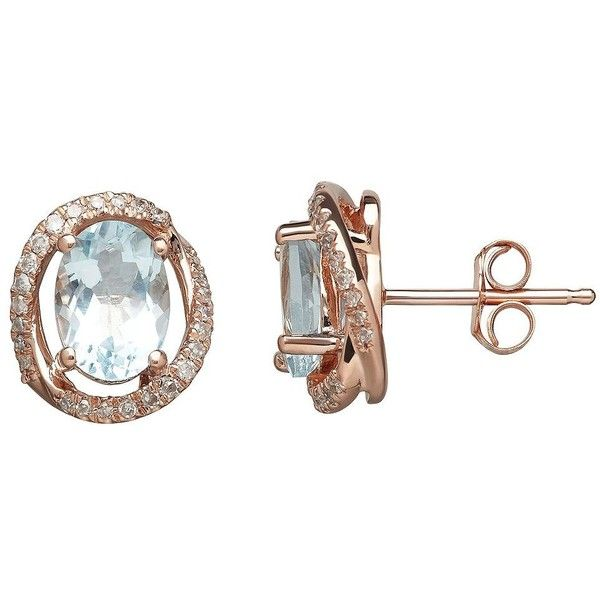 Lord & Taylor 14K Rose Gold  and Diamond Earrings (€845) ❤ liked on Polyvore featuring jewelry, earrings, aqua, rose gold diamond earrings, 14k jewelry, 14 karat gold earrings, diamond earrings and aqua earrings