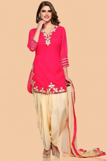 Rani pink Georgette Patiala Suit With Dupatta - 1778