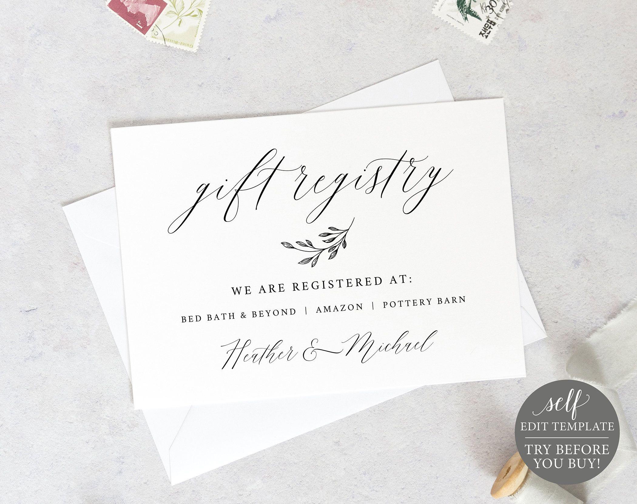 Wedding Registry Card Template Free Demo Available Printable Etsy Wedding Registry Cards Registry Cards Gift Registry Cards