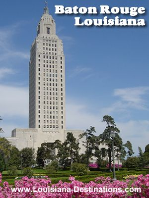 The towering Louisiana State Capitol in Baton Rouge, on the banks of the Mississippi River