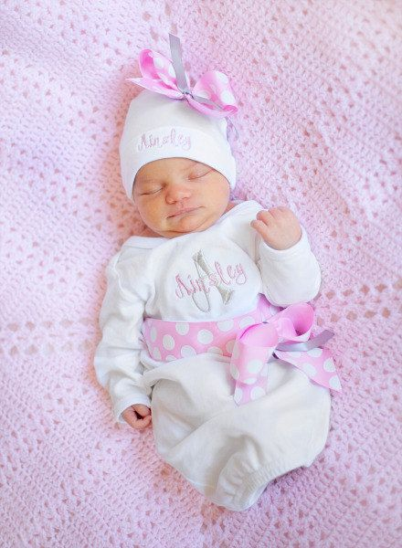 personalized baby girl take home outfit  coming Home From Hospital   Embroidered Baby Clothes  baby gift  newborn hospital hat  pink grey. personalized baby girl take home outfit  coming Home From Hospital