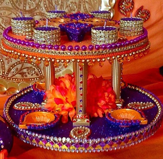 Indian Home Decor Ideas That Reflect Indian Culture: Mehndi Wedding Trays/thaals By Candletastic On Etsy