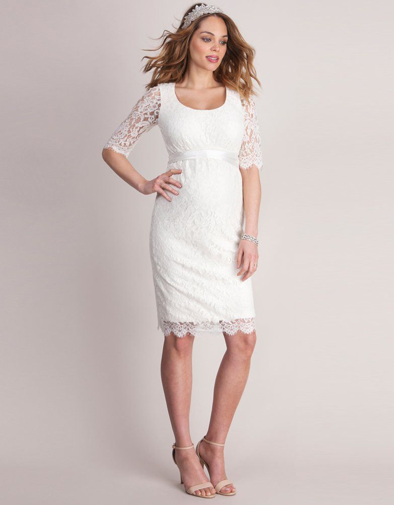 f61261f3a31d3 Round Neck Ivory Lace Maternity Wedding Dress | Seraphine - Maternity Short  Wedding Dresses/Dresses for the Engagement Party, Bridal Shower, ...