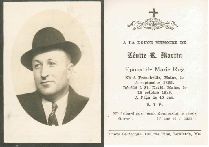 Levite Martin's funeral card | Historical memorial cards ...