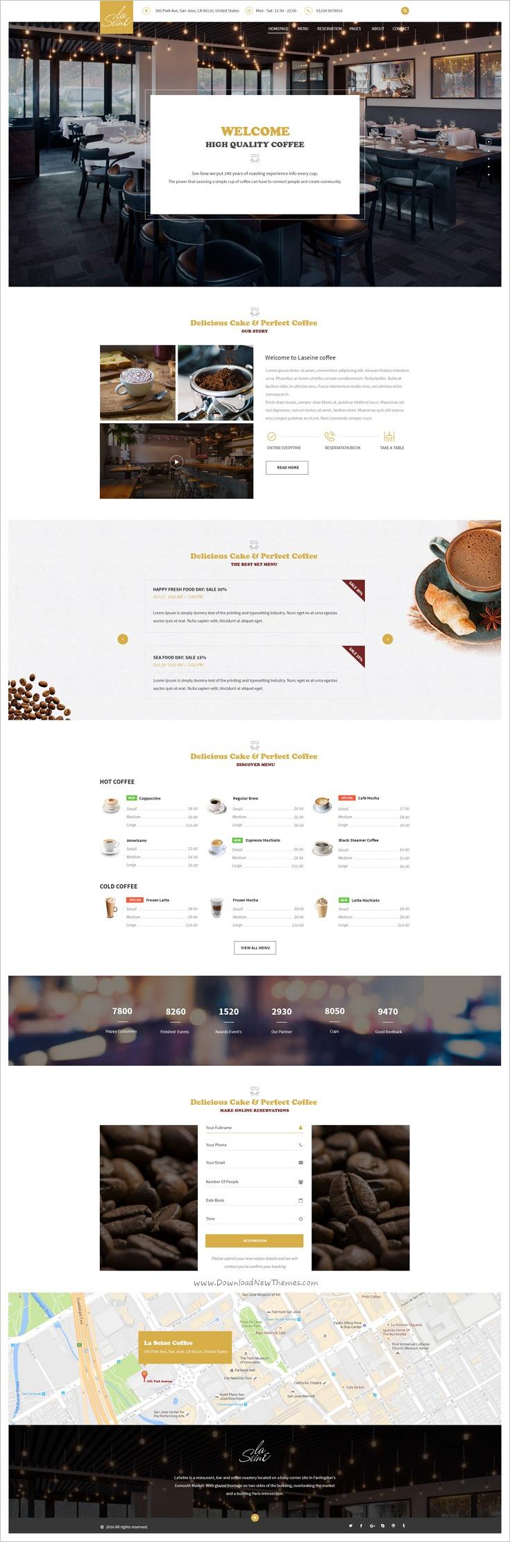 Laseine - Coffee PSD Template