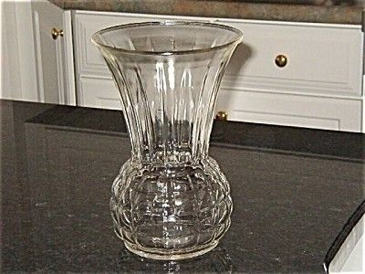 Anchor Hocking Crystal Pineapple Vase Smooth Rim Anchor Hocking