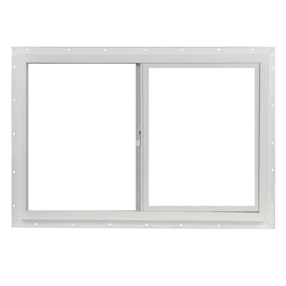 Tafco Windows 35 5 In X 23 5 In Utility Left Hand Single Slider Vinyl Window Dual Pane Insulated Glass And Screen White Vps3624i The Home Depot Sliding Vinyl Windows Sliding Windows Window Vinyl