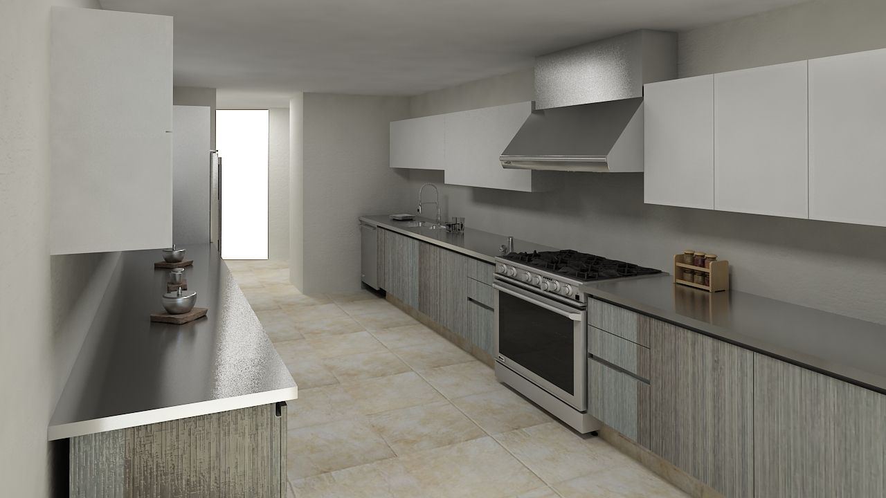 Cocina Lineal En Combinaci 243 N Gris Y Blanco Cocinas