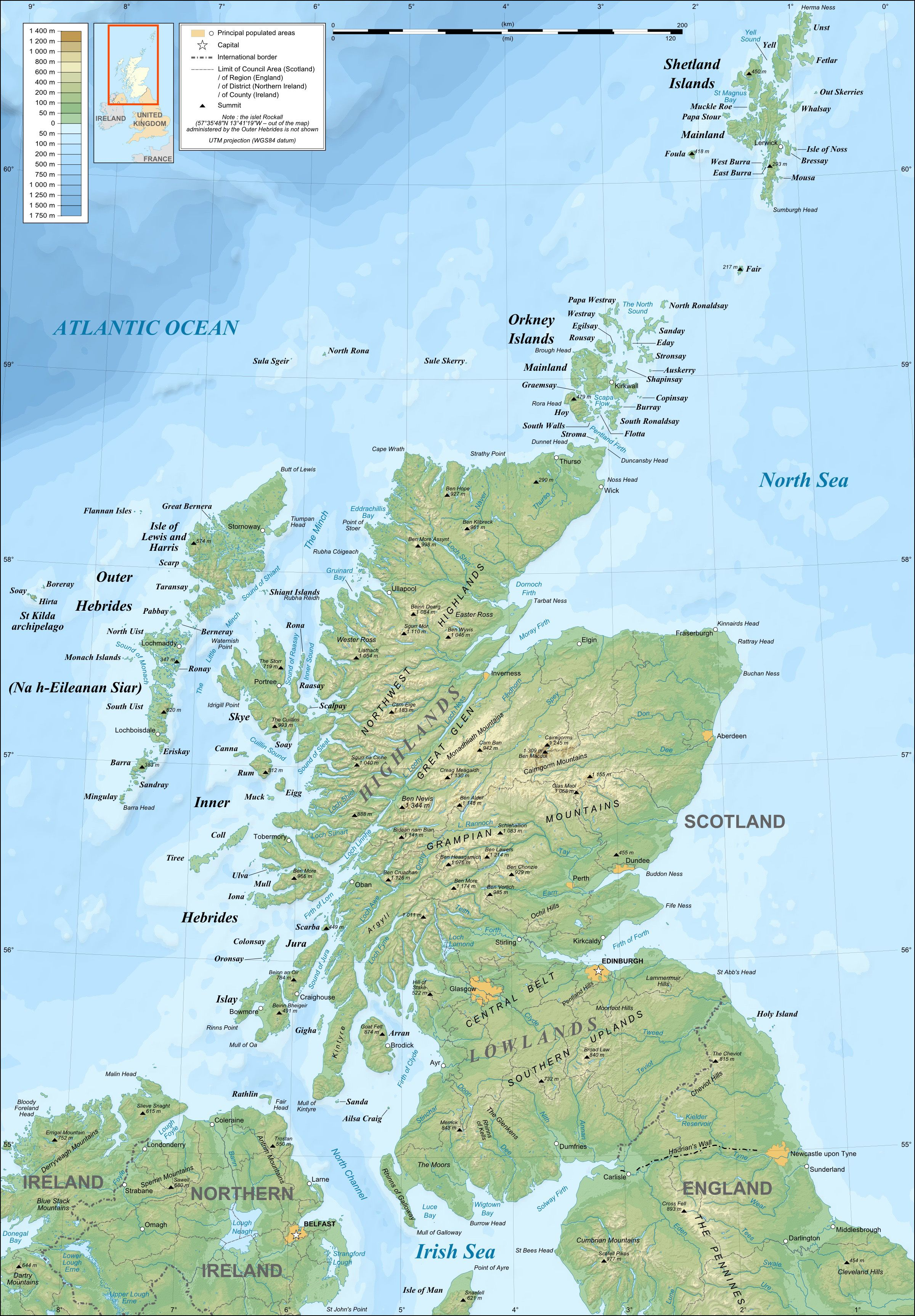 Map Of North England And Scotland.Map Of Mainland Scotland Northern England And Ireland And