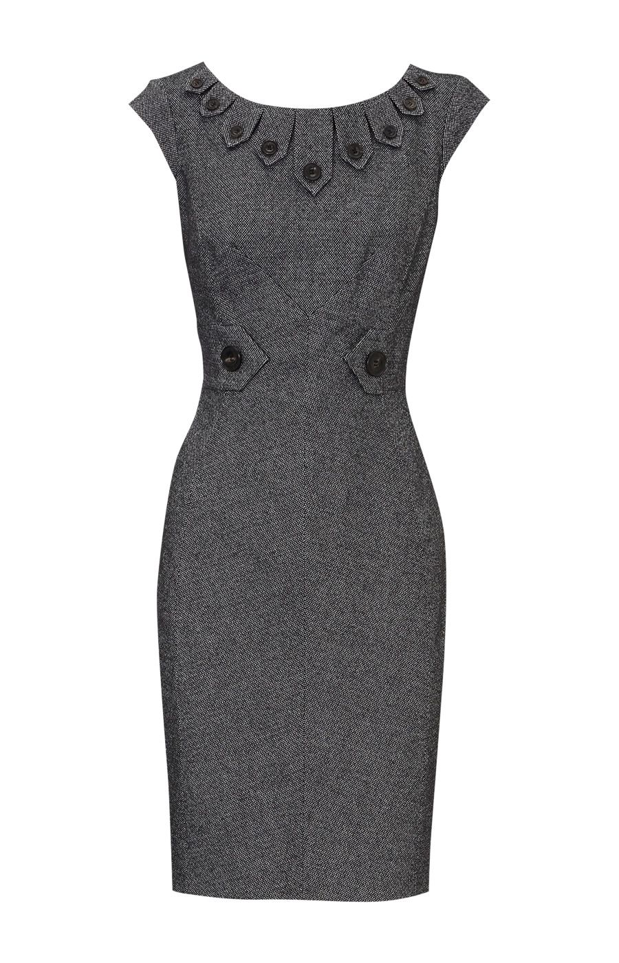 Details About Karen Millen Dk235 Tweed Dress Black Amp White