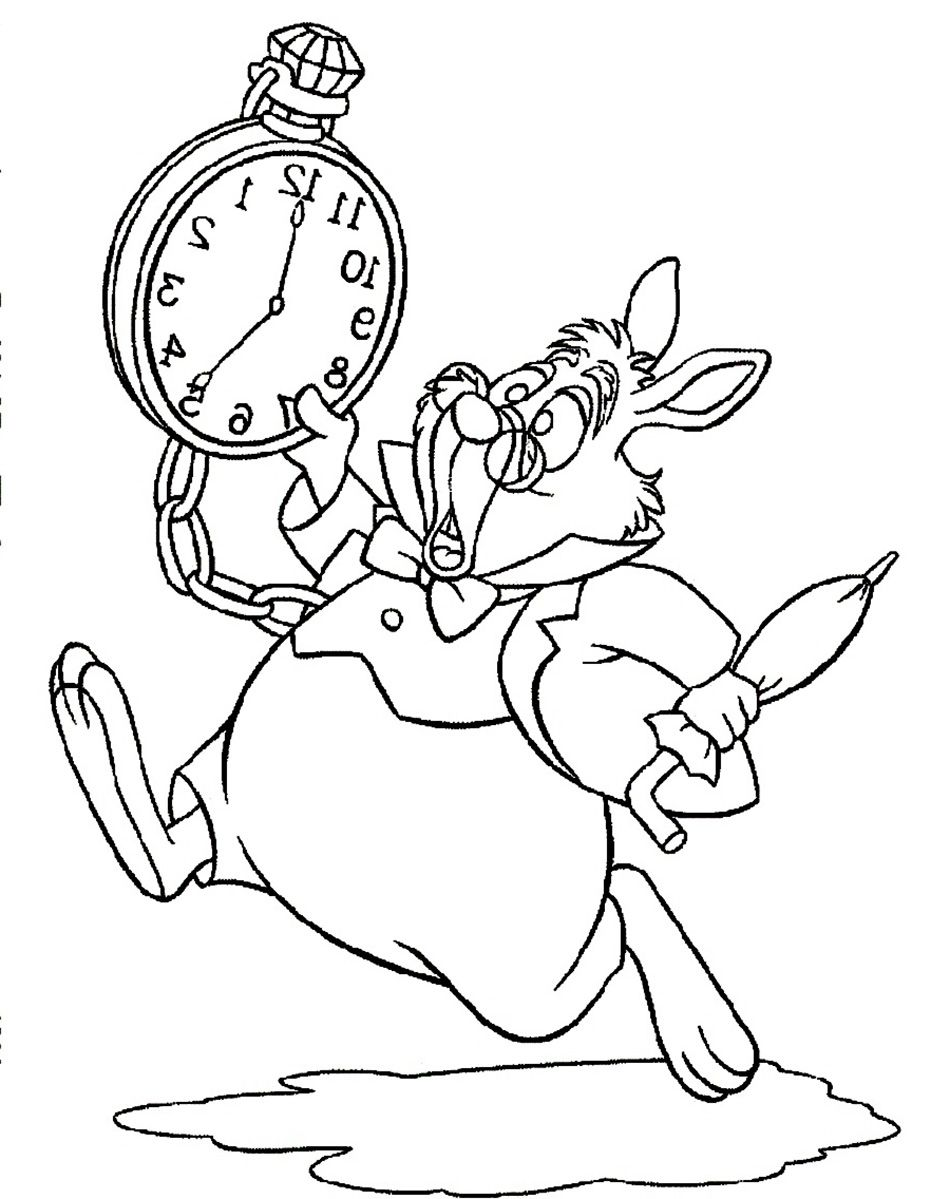 Free coloring pages alice in wonderland - Alice In Wonderland White Rabbit Run And Panic Coloring Pages For Kids Printable Alice In Wonderland Coloring Pages For Kids