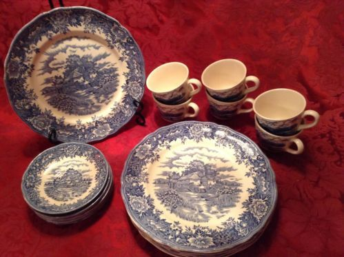 English Ironstone Old Staffordshire Breakfast Plates Cup and Sausers set of 6 & English Ironstone Old Staffordshire Breakfast Plates Cup and ...
