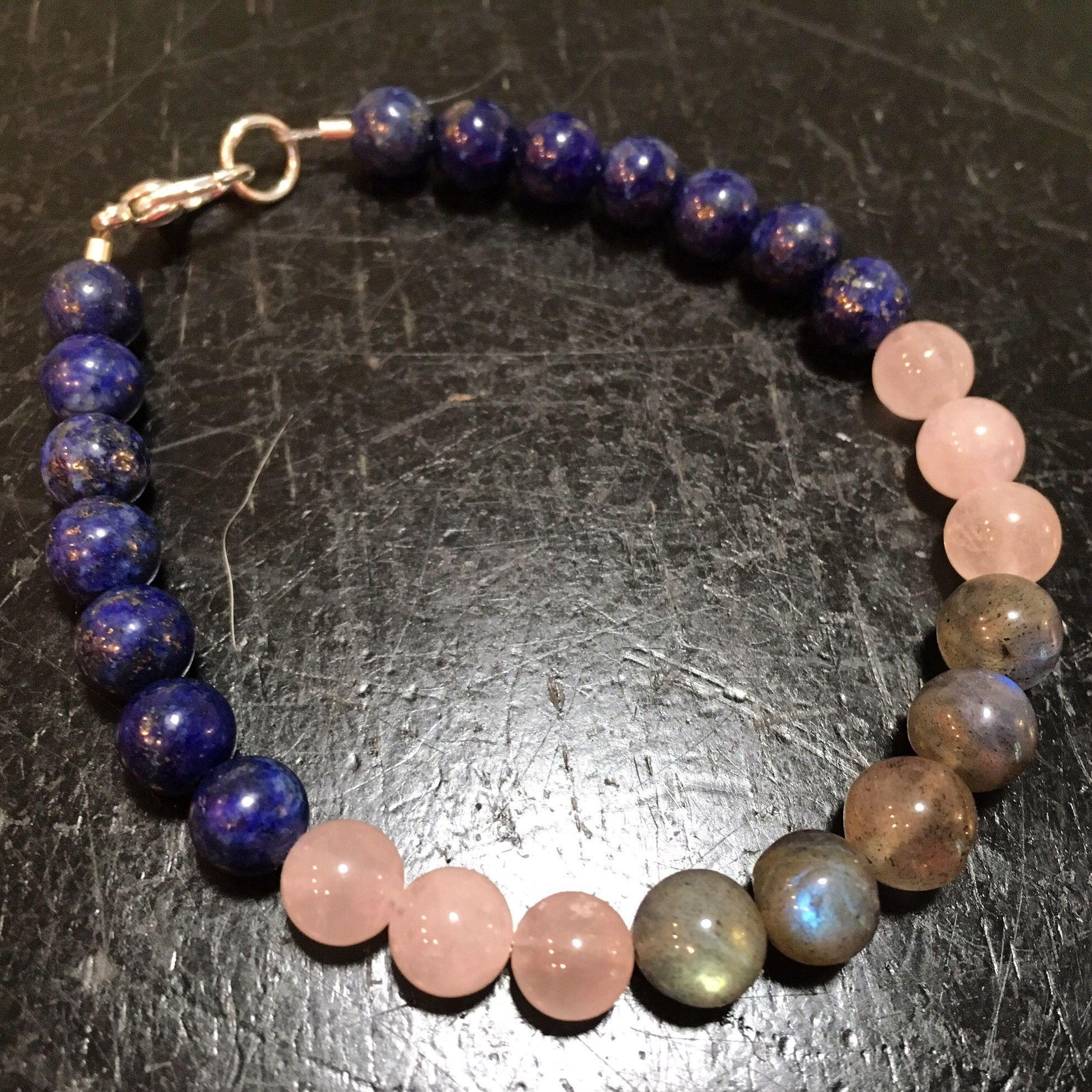 db61d4ae32c667 Inner Strength and Power Bracelet (Rose Quartz, Labradorite, & Lapis Lazuli)