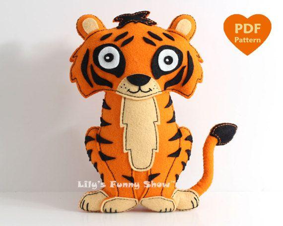Tiger Sewing Pattern Felt Pdf Pattern Instant Download Felt Hand