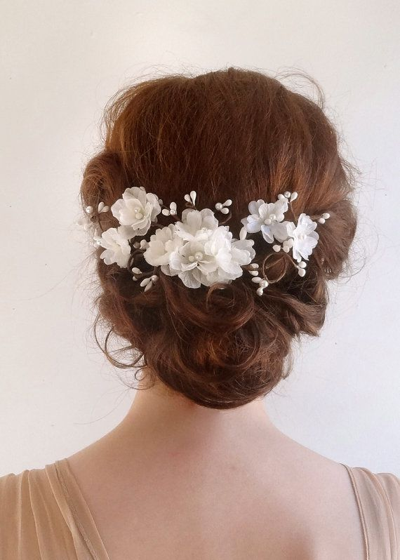 Bridal hair accessory, white flower hair clip, bridal hair ...