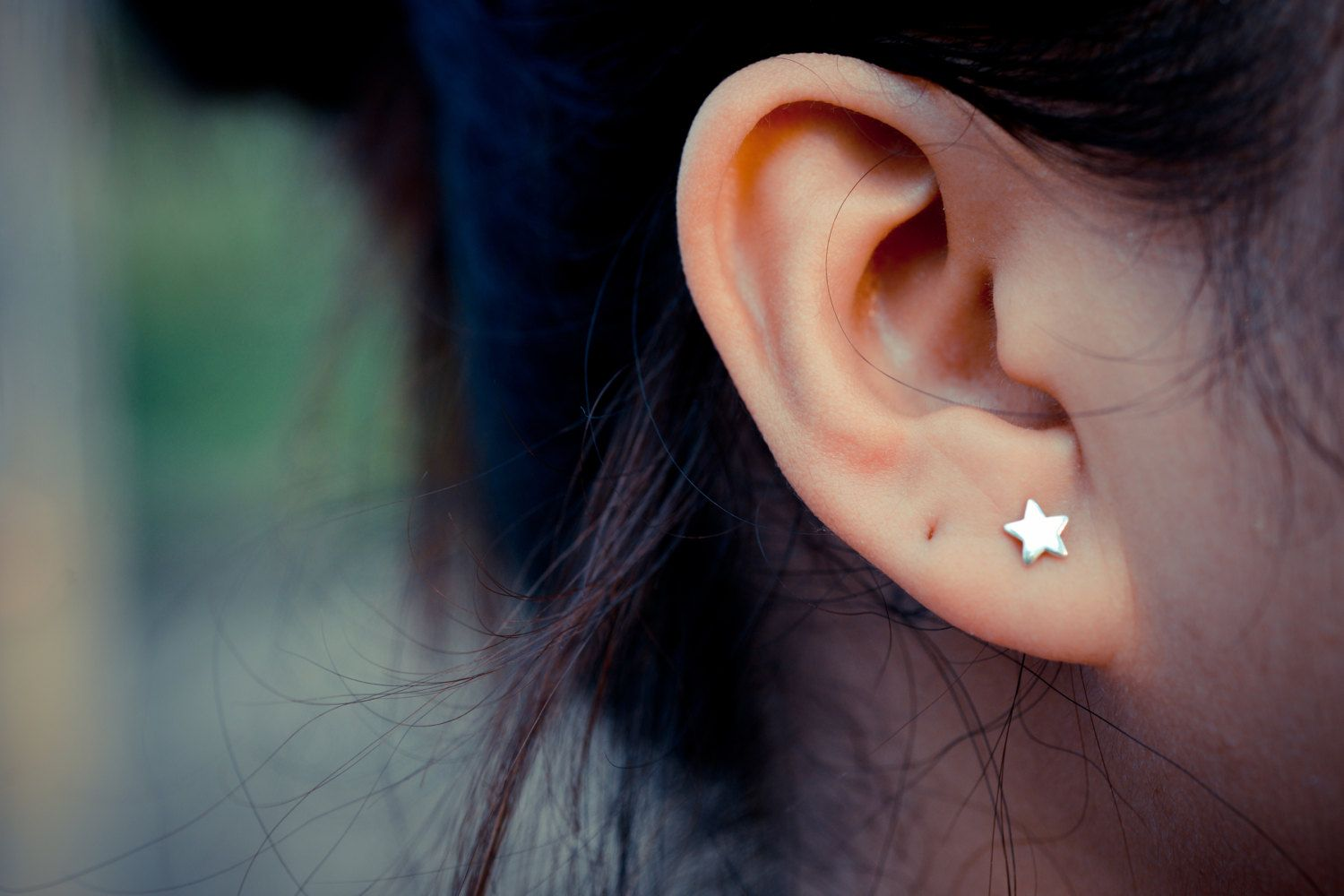 Handmade Sterling Silver Star Stud Earring , Modern Post Jewelry Gift for Woman
