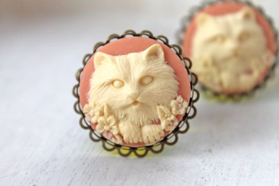 Lovely Persian cat cameos on ornate brass filigree mounted on acrylic plugs.  Cameos are 25 mm (1) in diameter.  Plugs size: 15mm (that's in between
