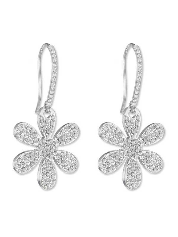 Small Cute Flower Rhinestone Stud Earrings White Gold Plated Wedding Jewelry