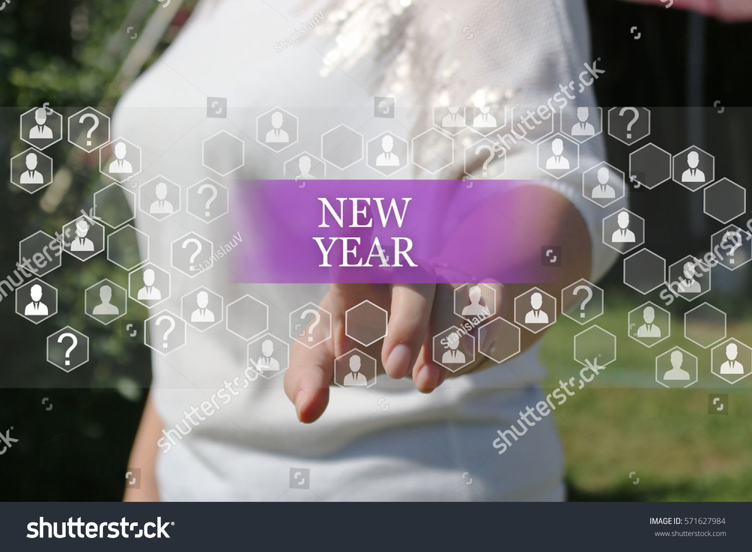 Businesswoman Pushing Web Icon New Year On Virtual Screens Business Innovation Business Vis Web Icons Website Templates Wordpress Responsive Website Template