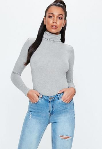 b5bf7f3e9a Missguided - Grey Funnel Neck Long Sleeve Bodysuit in 2019
