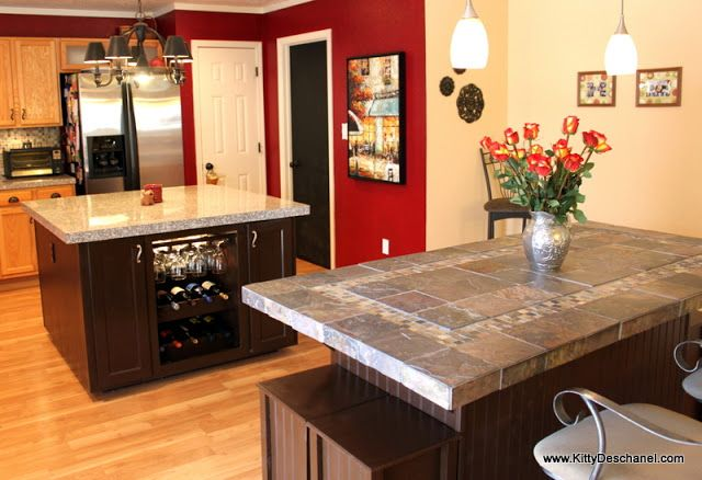 Kitchen Dining Room Remodel Brilliant Kitchen Remodel With Wine Bar And Two Islands  Red Paint Is Behr Review