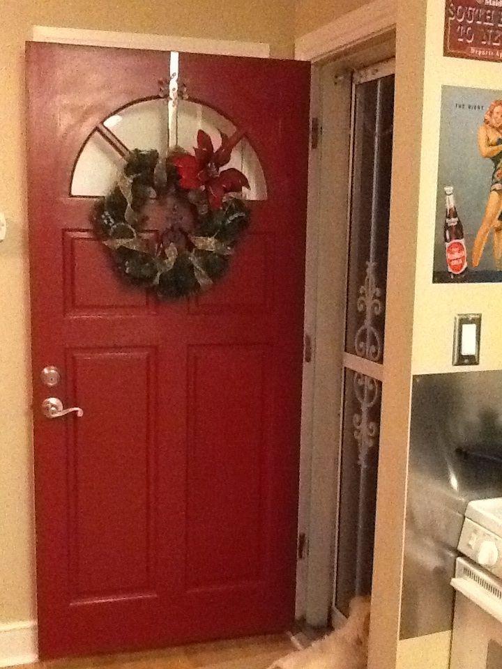 Red Front Door, with wreath.