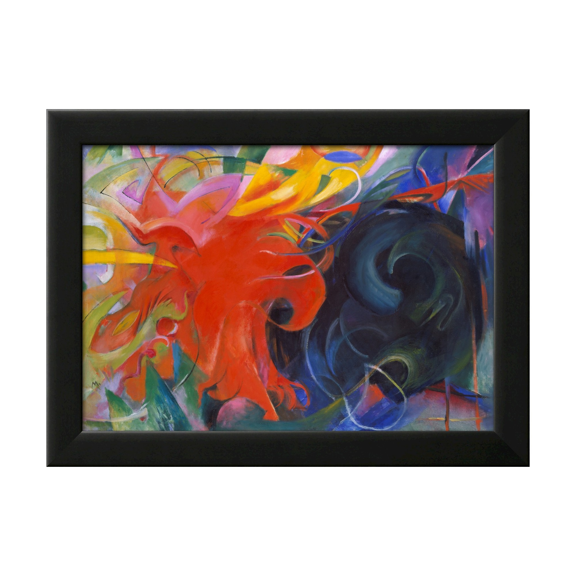 Art framed wall poster print fighting shapes red red