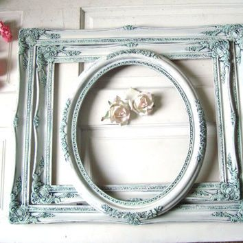 Cottage White and Mint Large Ornate Frames, Antique White Distressed ...