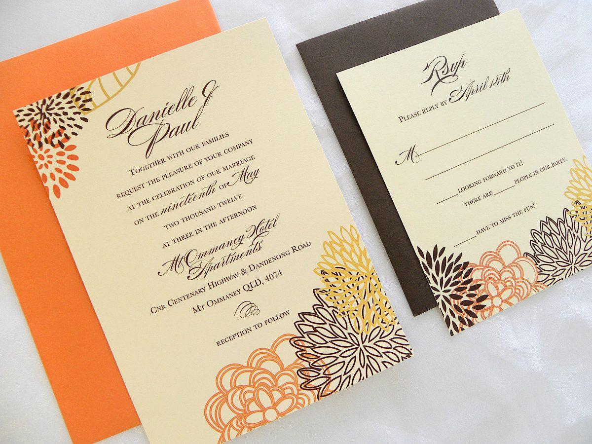 Fall Color Wedding Invitations: Dahlia Florals Wedding Invitations In Fall Colors