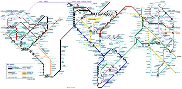 World Map As If It Were One Huge Subway System Chris Gray