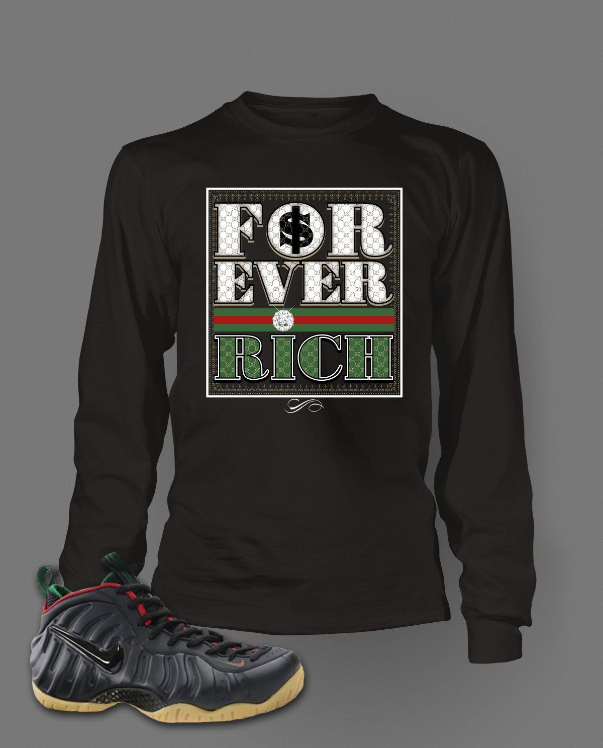 8bb63c71f10 Long Sleeve T Shirt To Match Gucci Black Foamposite Shoe Custom Mens Tee  Design S M L XL XL-Tall 2XL 2XL-Tall 3XL 3XL-Tall LENGTH 28