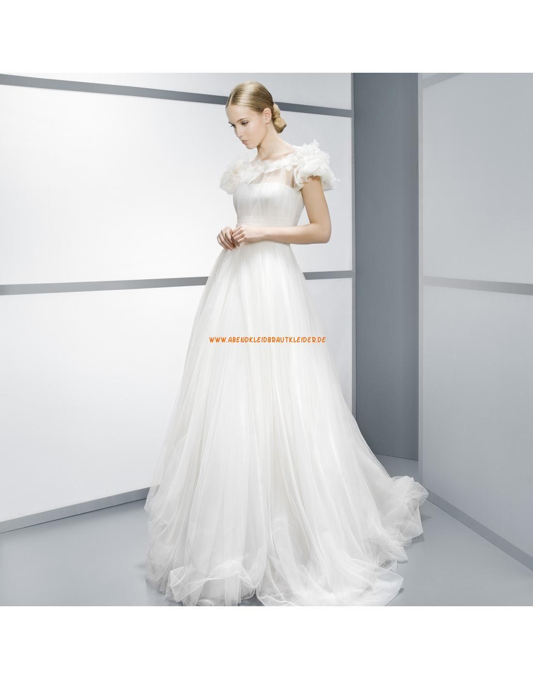 Liebste kurze Ärmel Brautkleider aus Softnetz mit Blumen- Jesús Peiró