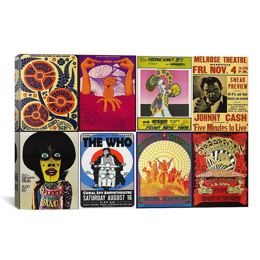 <ul> <li>Artist: Unknown</li> <li>Title: Johnny Cash, The Who, Fleetwood Mac, The Doors, Jefferson Airplane Concert Poster</li> <li>Product type: Canvas art print </li>